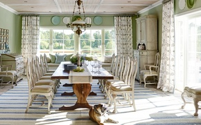 Picture interior, dining room, rural style, design. house