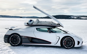 Picture white, the sky, snow, Koenigsegg, Top Gear, supercar, side view, The Stig, The Stig, top ...
