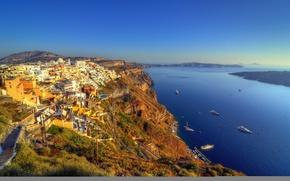 Picture sea, landscape, mountains, rocks, home, The city, Santorini, Greece, town, architecture, Santorini, Greece, yacht.