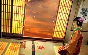 Picture anime, art, girl, kimono