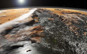 Picture space, surface, Mars, a system of canyons, Valles Marineris