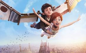 Picture city, girl, sky, flying, cloud, France, birds, boy, cartoon, animated film, joy, roof, family, Ballerina, …