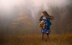 Wallpaper autumn, the wind, hair, toy, bear, girl