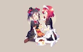 Picture joy, girls, minimalism, anime, cake, hat, uniform, sweet, the maid, feeds