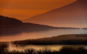 Picture mountains, lake, dawn, haze, kamyshi