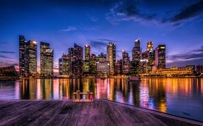 Picture night, lights, river, home, skyscrapers, Singapore, promenade