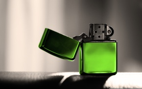Picture green, lighter, zippo