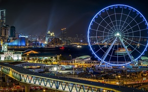 Picture night, bridge, lights, wheel, attraction, Ferris, Hong Kong