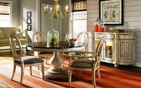 Picture vintage, wood, interior, dining room, antique style
