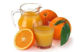 Picture glass, oranges, juice, pitcher, fruit, orange juice