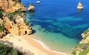 Picture sea, beach, trees, rocks, shore, height