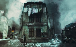 Picture the city, hopelessness, art, collapsed, grafiti, poverty, the future, winter. people