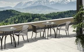 Picture style, Villa, interior, terrace, tables