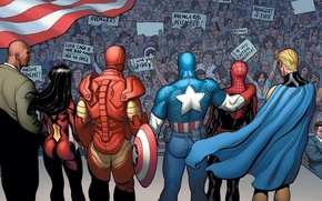 Picture Iron Man, Marvel Comics, Spider-Woman, Sentry, Luke Cage, the crowd, Captain America, Spider-Man