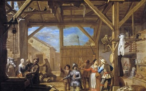 Picture picture, genre, Valero Iriarte, Dedication to don Quixote in the Knights