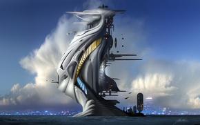 Picture clouds, futuristic, stairways