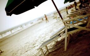 Picture sand, summer, umbrella, Beach, sunbeds
