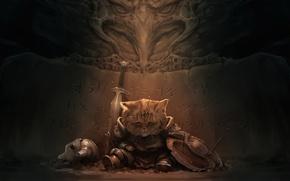 Picture art, helmet, sadness, sword, dark, adventure, Skyrim, cat