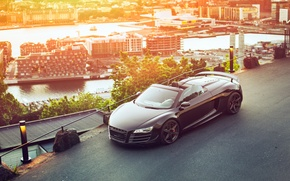 Wallpaper car, the city, Audi R8, GT Spyder