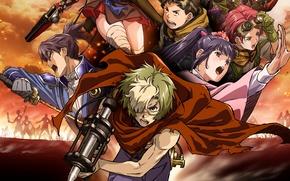 Picture fire, battlefield, flame, zombie, gun, pistol, undead, megane, weapon, war, anime, katana, ken, hero, asian, …