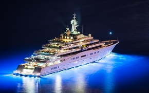 Picture night, lights, helicopter, Eclipse, night, yachts, Eclips, super yacht, mega yacht, yacht., mega yachts, mega …