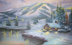 Picture winter, snow, landscape, lights, lake, winter, mountain, spruce, picture, the evening, houses, tree, painting, Thomas …