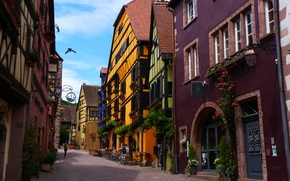 Picture street, France, home, Riquewihr