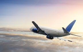 Picture the sky, clouds, flight, the plane, Boeing, passenger