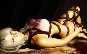 Picture girl, blonde, lies, yellow eyes, The Elder Scrolls V Skyrim
