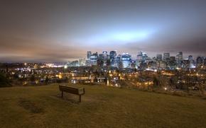 Wallpaper lights, night, panorama, Calgary, bench, Canada, landscape