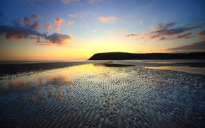 Picture sand, sea, the sky, clouds, sunset, shore, tide