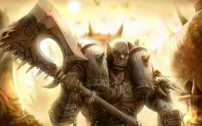 Picture fantasy, warrior, art, armor, axe, Orc
