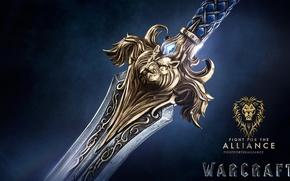 Picture cinema, sword, logo, game, Warcraft, war, lion, symbol, rpg, movie, World of WarCraft, mmorpg, film, …