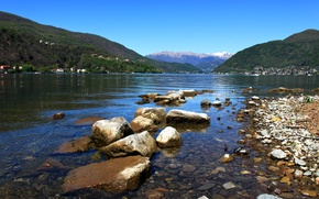 Wallpaper Switzerland, lake, mountains, shore, Lugano, stones