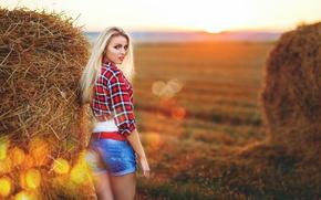 Picture ass, look, girl, sunset, shorts, blonde, bales, straw, shirt, is, Nastya, @Sergey Pinchuk