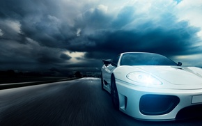 Picture night, speed, highway, Ferrari, white, 360, front