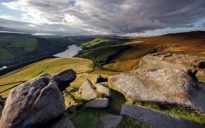 Picture landscape, river, stones, mountain