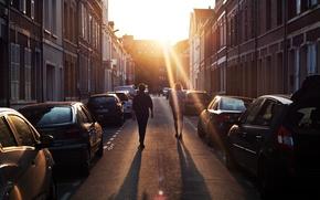 Picture the sun, machine, street, guys, men