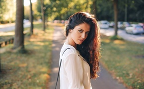 Picture look, girl, city, smile, model, portrait, brunette, beautiful, the beauty, young, blue-eyed, street, chic, bokeh, …