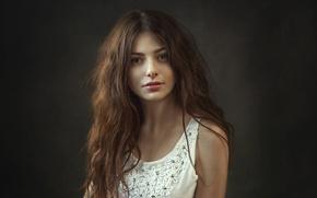Picture look, girl, sweetheart, model, portrait, tilt, Mike, light, brown hair, beautiful, the beauty, shoulders, studio, ...