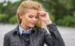 Picture face, background, model, hair, jacket, Elena
