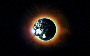 Picture the sun, space, stars, skull, Eclipse