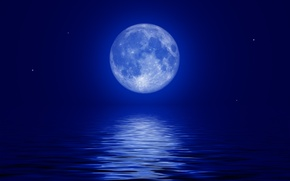 Picture sea, the sky, stars, night, the moon