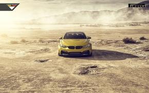 Picture BMW, Car, Front, Vorsteiner, Yellow, Pirelli, Wheels, Desert, 2015, Skid, GTRS4
