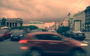 Picture machine, sunset, clouds, The city, excerpt, Kazan Cathedral