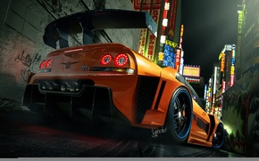 Picture orange, the game, car, Nissan Skyline, GT R