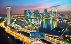 Picture road, night, lights, Singapore, the hotel, megapolis, Singapore, Marina Bay Sands