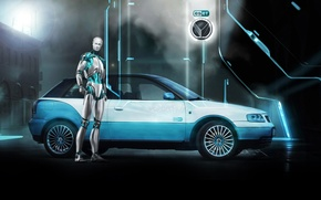 Picture background, Audi, tuning, robot, Audi, emblem, drives, side view, Android, tuning, ESET, Vilner