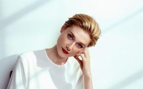 Picture pose, model, makeup, actress, hairstyle, red, in white, Elizabeth Debicki, Elizabeth Debicki, The Wrap, Michael …