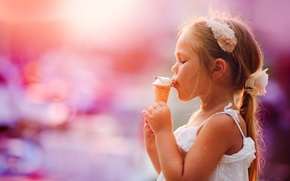Picture ice cream, girl, horn, child